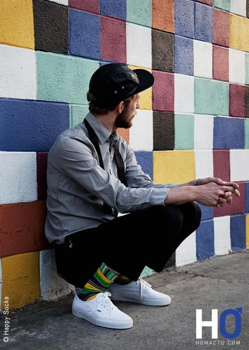 Les chaussettes colorées, à rayure, bariolées