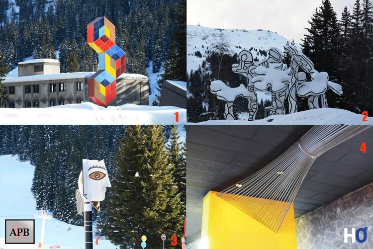 1 - Trois Hexagones de Vasarely. 2 - Le Boqueteau des 7 arbres de Dubuffet. 3 - Tête de femme de Picasso. 4 - Faisceaux à tiges d'acier de Davos Hanich.