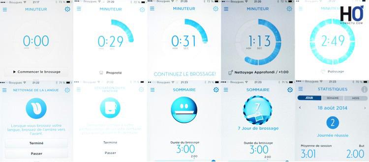 On peut suivre sur son smartphone, la progression du brossage et les statistique!