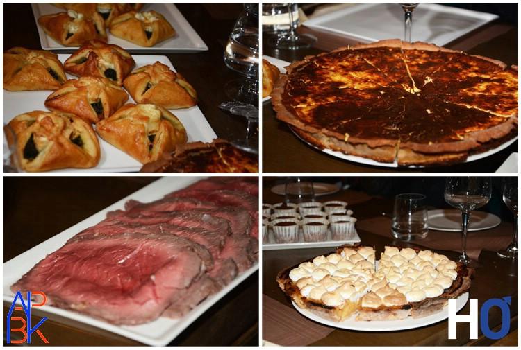 Le repas: Feuilletés aux épinards, quiche au fromage, viande, Tarte citron et moelleux chocolat.