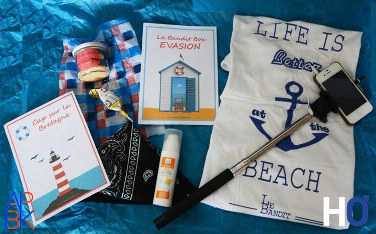 Rillettes de Saumon, Cuchette de Quiberon, Bandan, Crème hydratante Floressance, T-Shirt de l'Été et une perche à selfie.