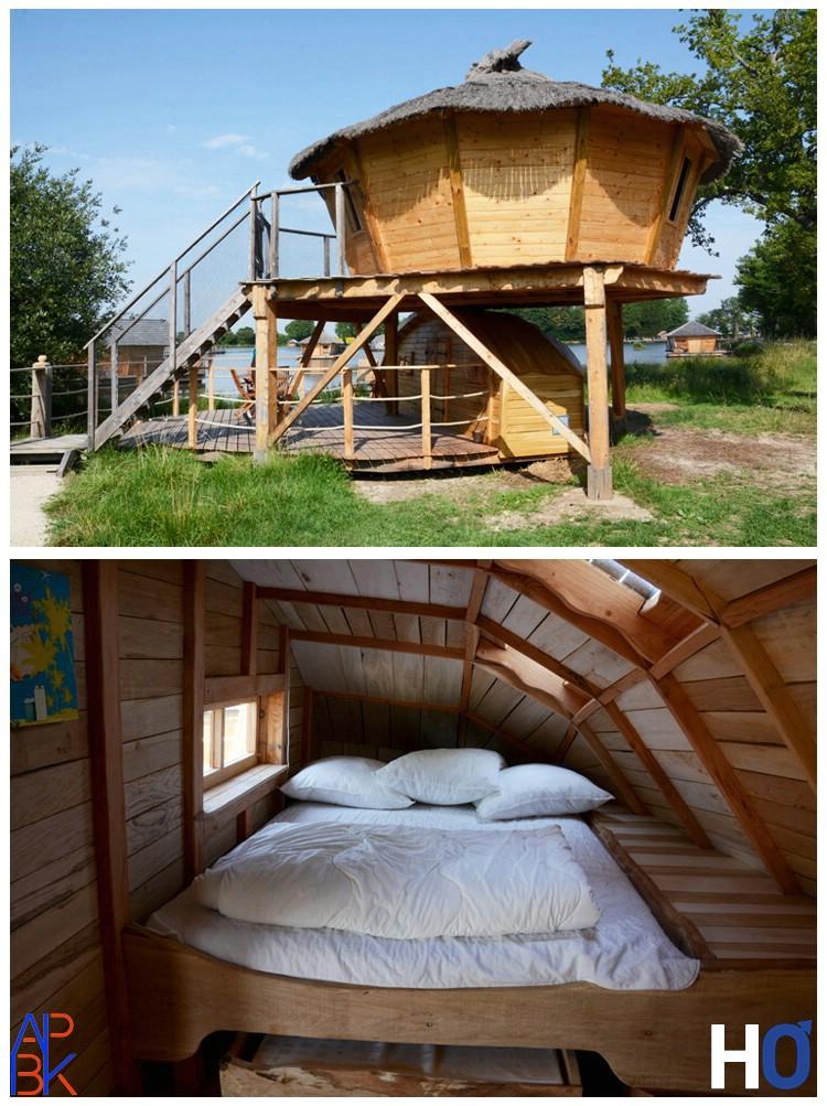 La seule cabane qui n'est pas dans l'eau avec chambre en bas pour les enfants