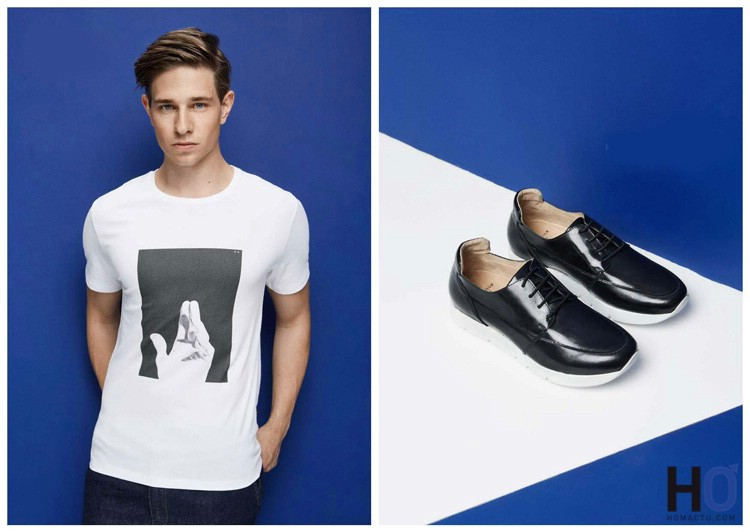 T-shirt : White Cotton - Chaussures : Gaston