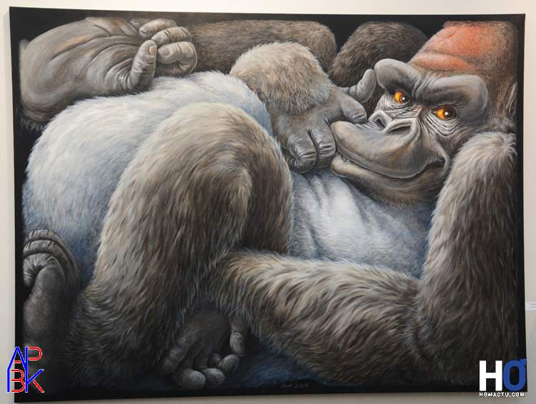 """Peinture de Benoït Dechelle - """"Gorille coincé"""""""