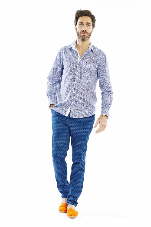 Chemise Ste Maxime, droite en coton imprimé « Brisures » bleu 149€