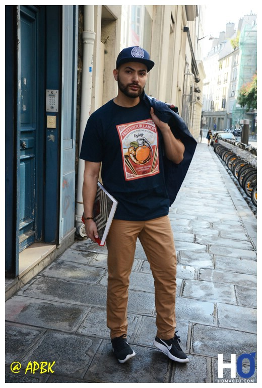 Modèle Amir - Tee Frut of our Labor - Vest Spiden Rose Grafic, pant Traveler Cap Obey, Livre Covet-To -Overt