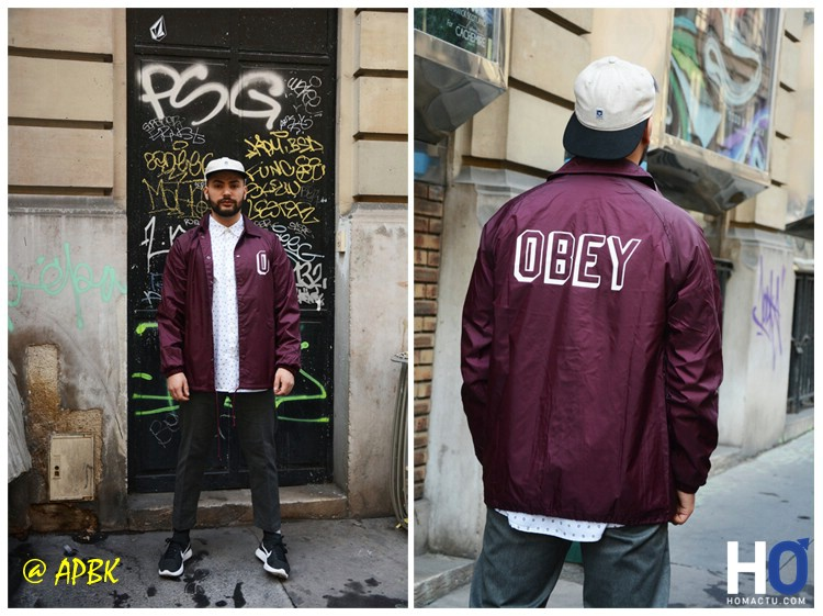 Modèle : Amir - Vest Obey Varsity, chemise Syd Vovne, pant Stragller, caps Obey