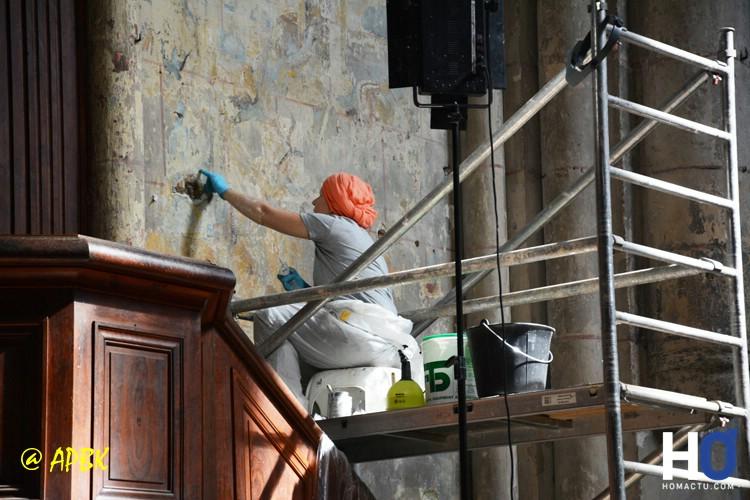 Église Sainte-Radegonde de Poitiers, là aussi restauration des fresques.