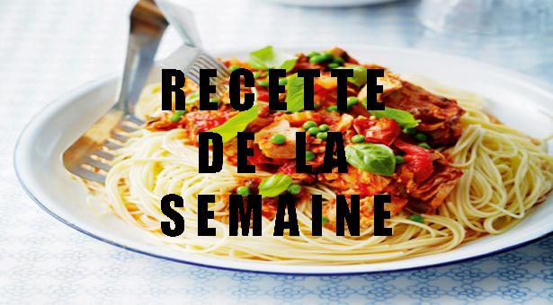 Spaghettis à la sauce tomate au thon.
